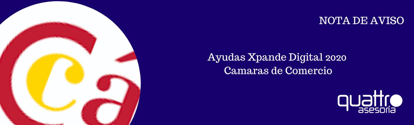 NOTA DE AVISO Ayudas Xpande Digital 2020 - Programa Ayudas Xpande Digital 2020 - TIC Camaras