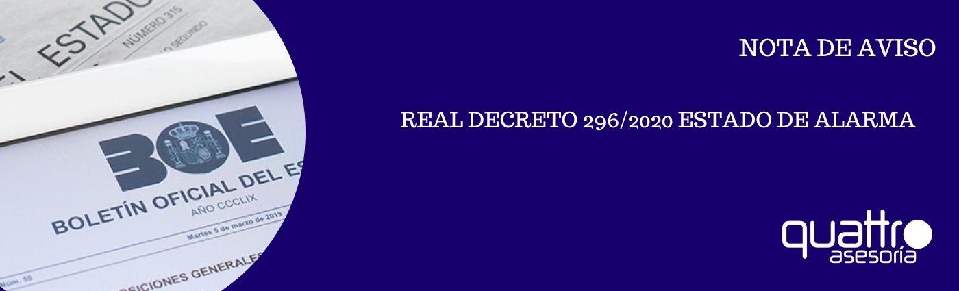 NOTA DE AVISO REAL DECRETO ESTADO DE ALARMA 26102020 banner - NOTA DE AVISO - REAL DECRETO 926/2020 ESTADO DE ALARMA