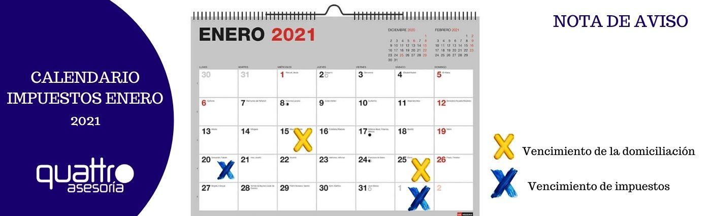CALENDARIO IMPUESTOS ENERO 2021.nota de aviso.blog  - CALENDARIO IMPUESTOS ENERO 2021. ¡Muy importante!!