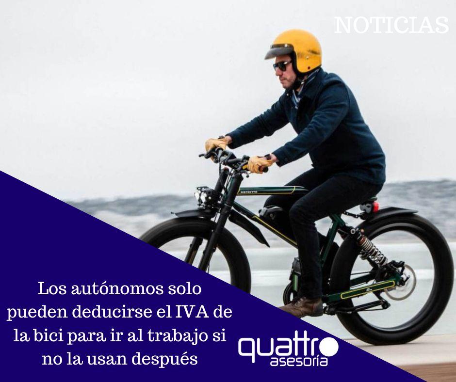 Noticia Los autonomos solo pueden deducirse 09092021 - Los autónomos solo pueden deducirse el IVA de la bici para ir al trabajo si no la usan después